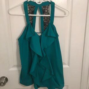 Green blouse with ruffle and lace detail